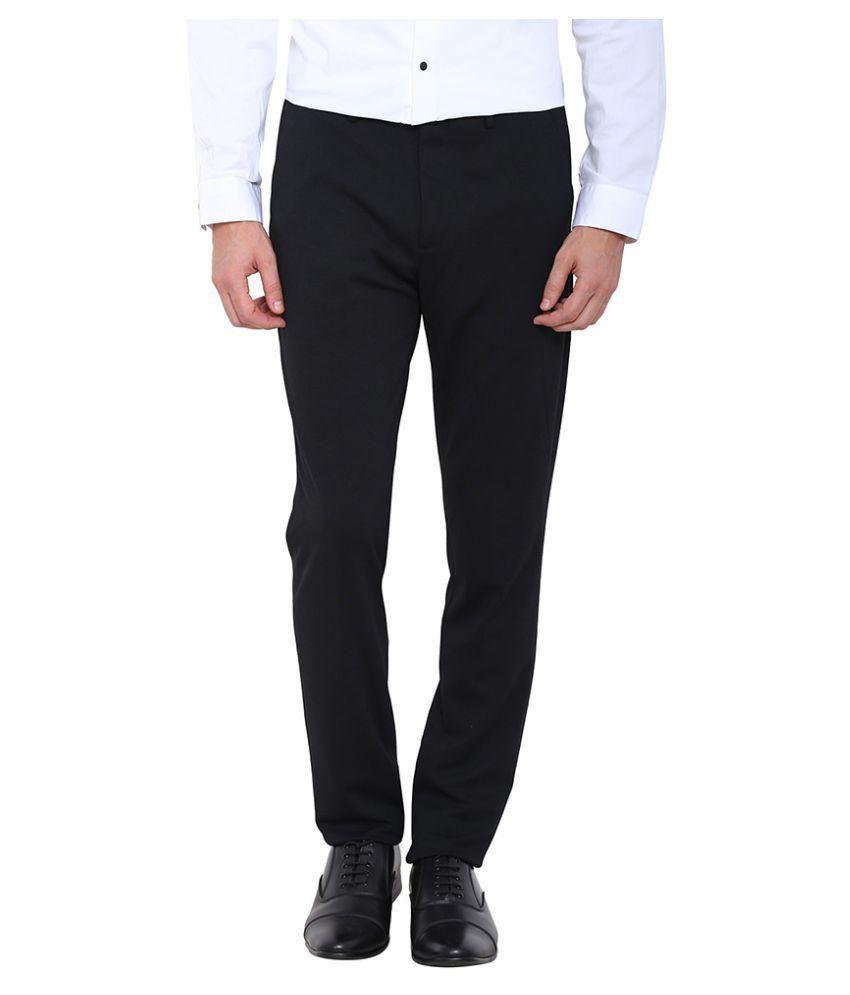 Arrow New York Black Slim Flat Trouser