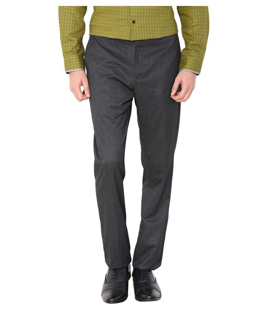 Arrow New York Grey Tapered Flat Trouser