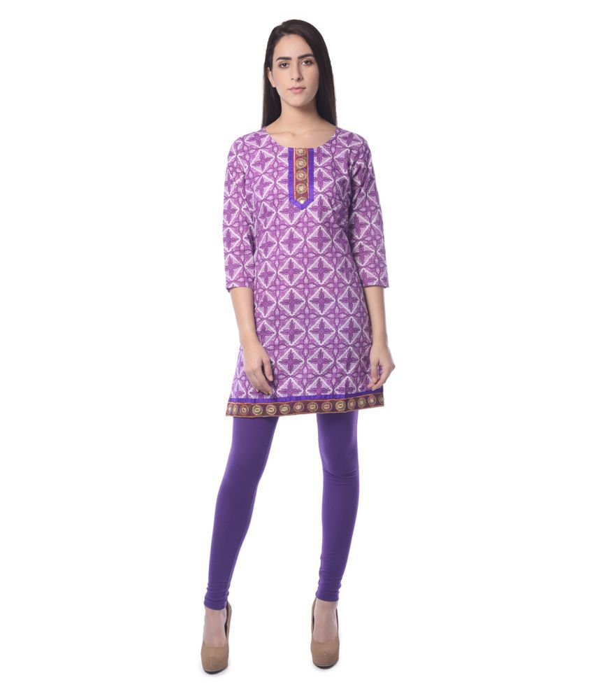 Vastra Vinod Purple Cotton Straight Kurti