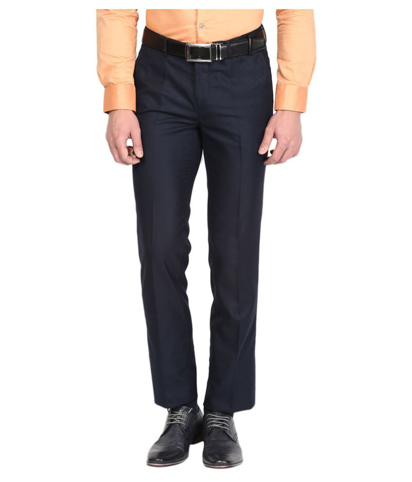 London Bridge Blue Slim Flat Trouser