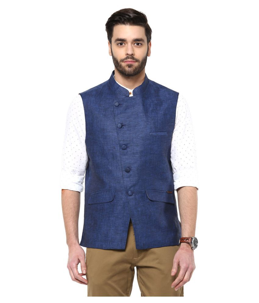 Turtle Blue Solid Party Waistcoats