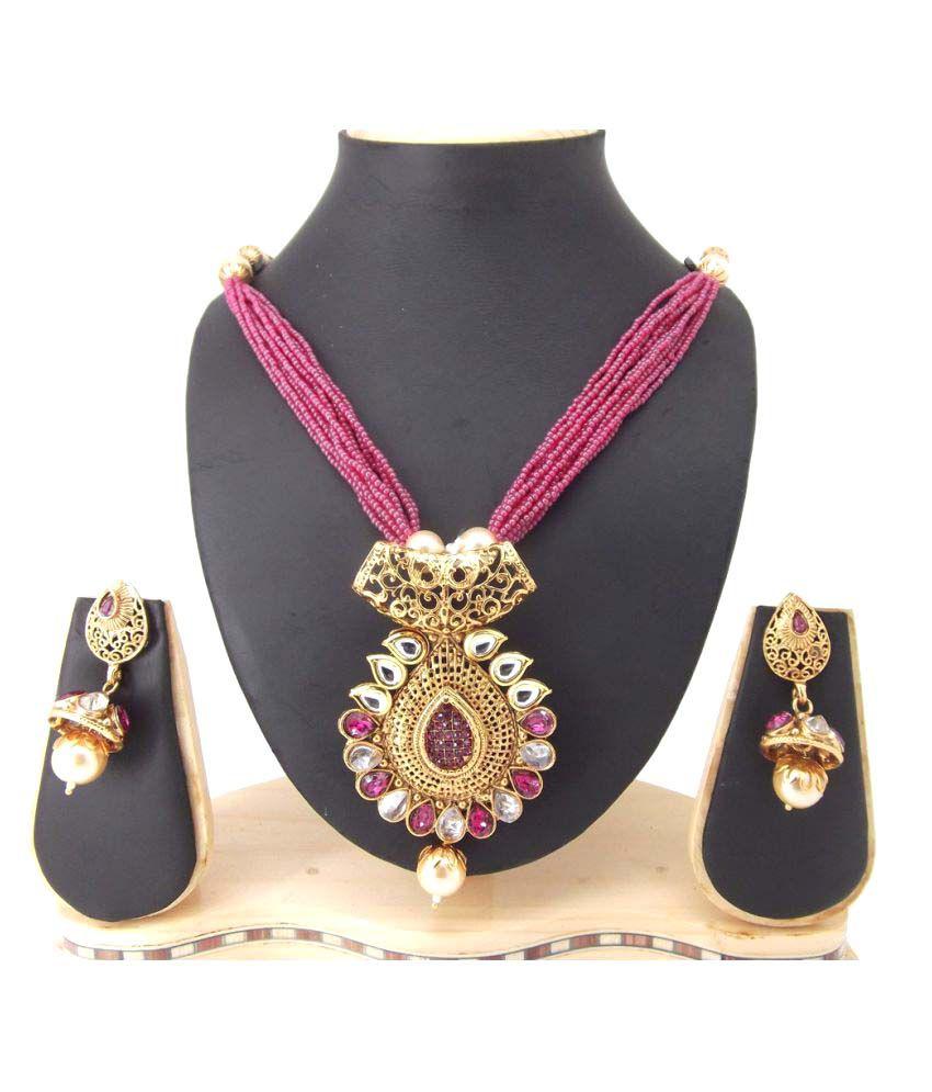9blings Multicolour Kundan Filigree Work Gold Plated Copper Necklace Set