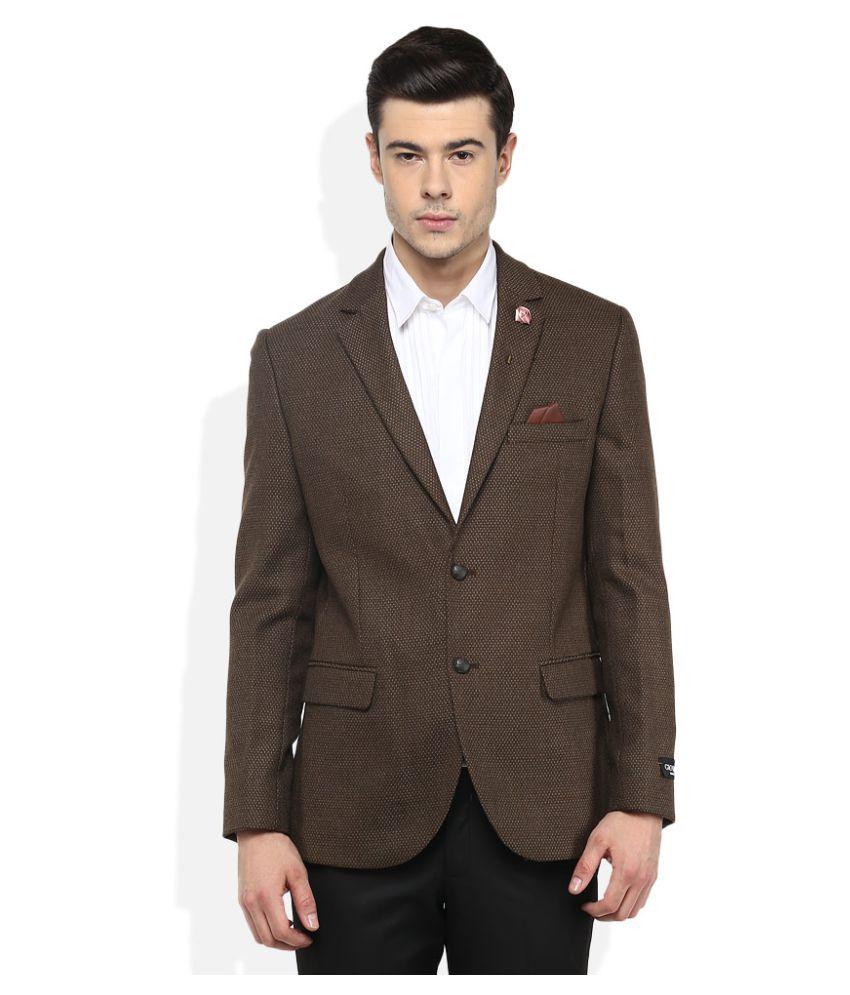 Giovani Brown Self Design Formal Blazers