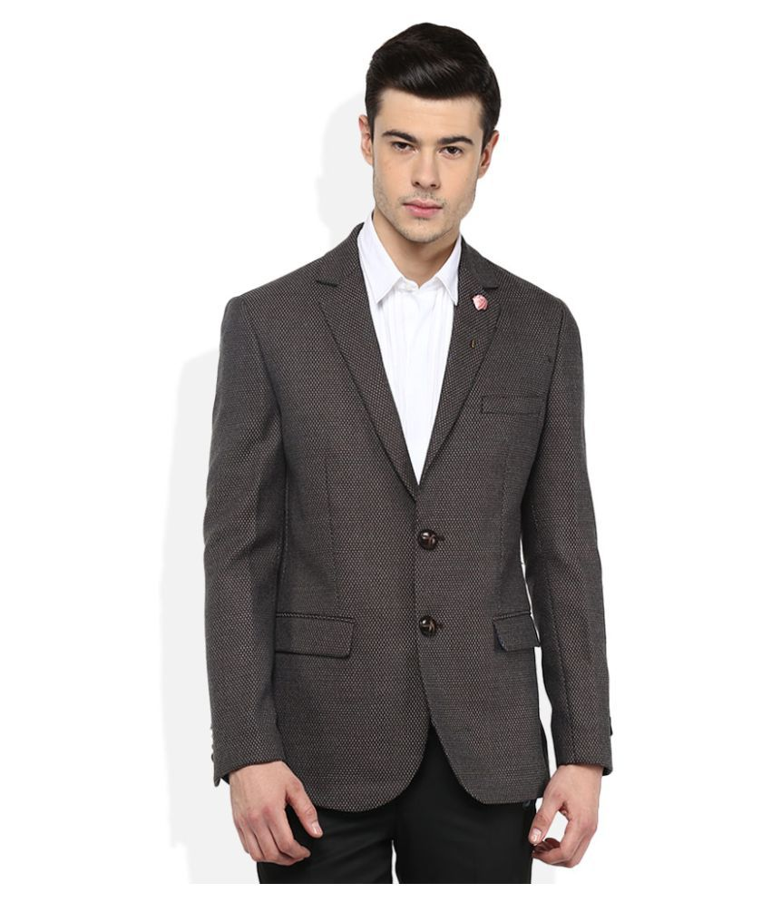Giovani Brown Self Design Formal Blazers