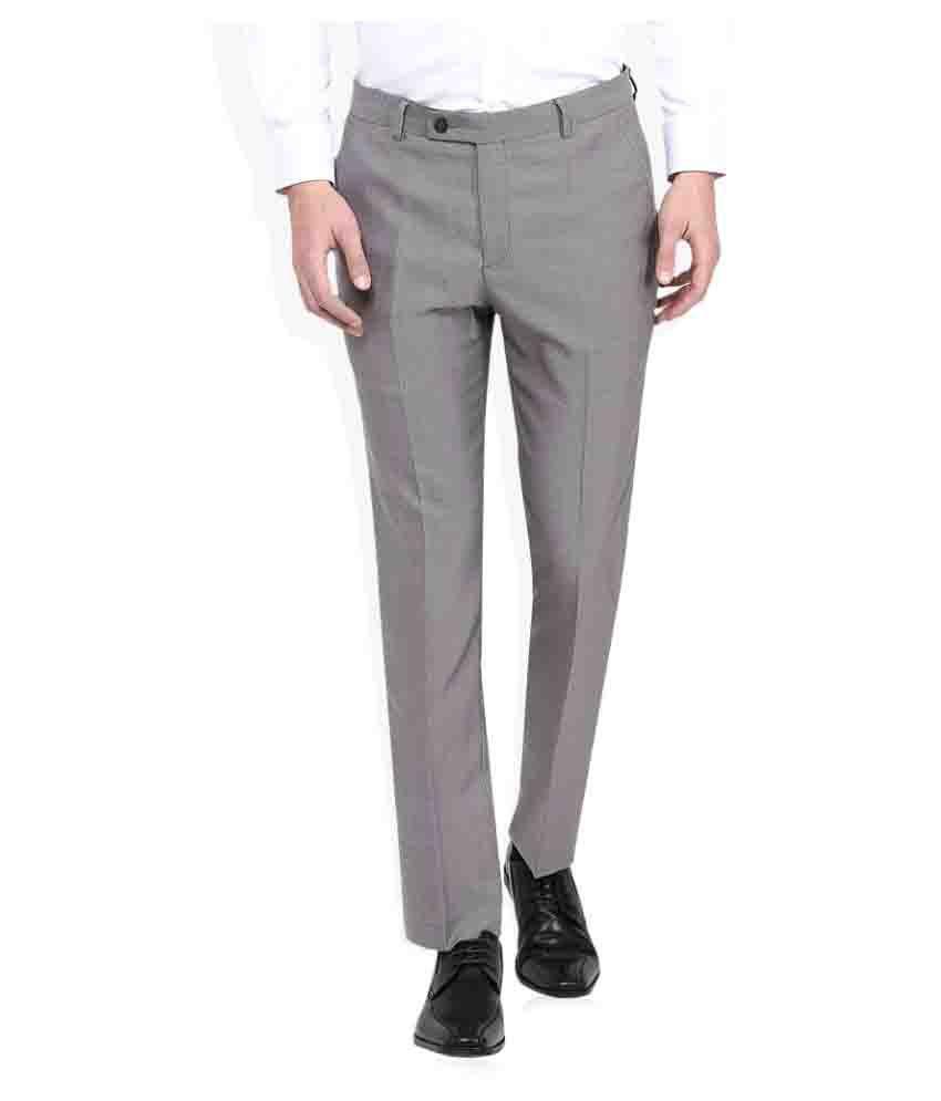 Giovani Grey Slim Flat Trouser
