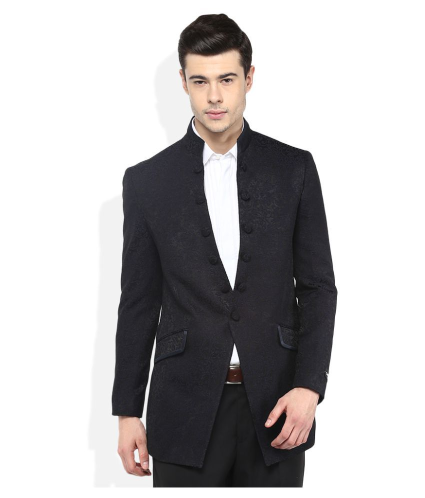 Giovani Navy Self Design Casual Jackets