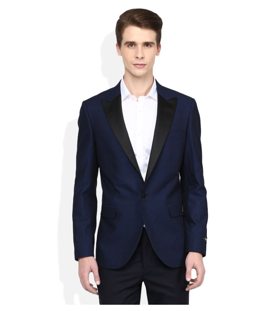 Giovani Navy Solid Formal Blazers