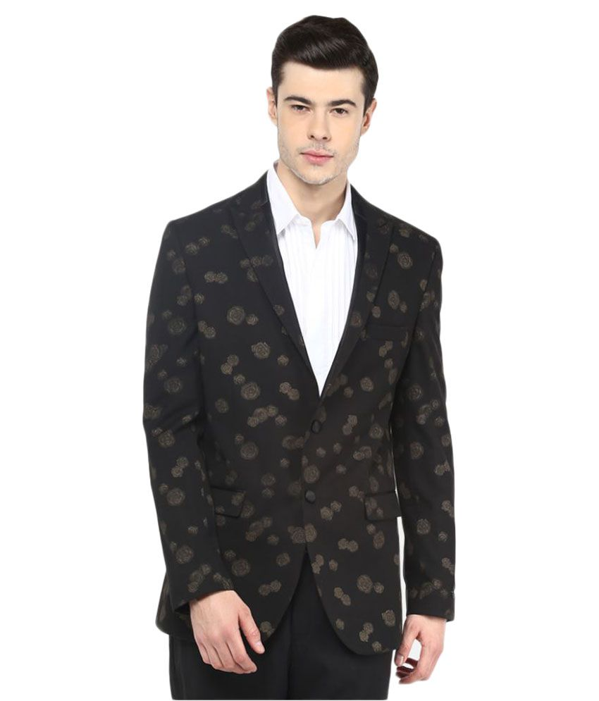 Giovani Black Printed Party Blazers