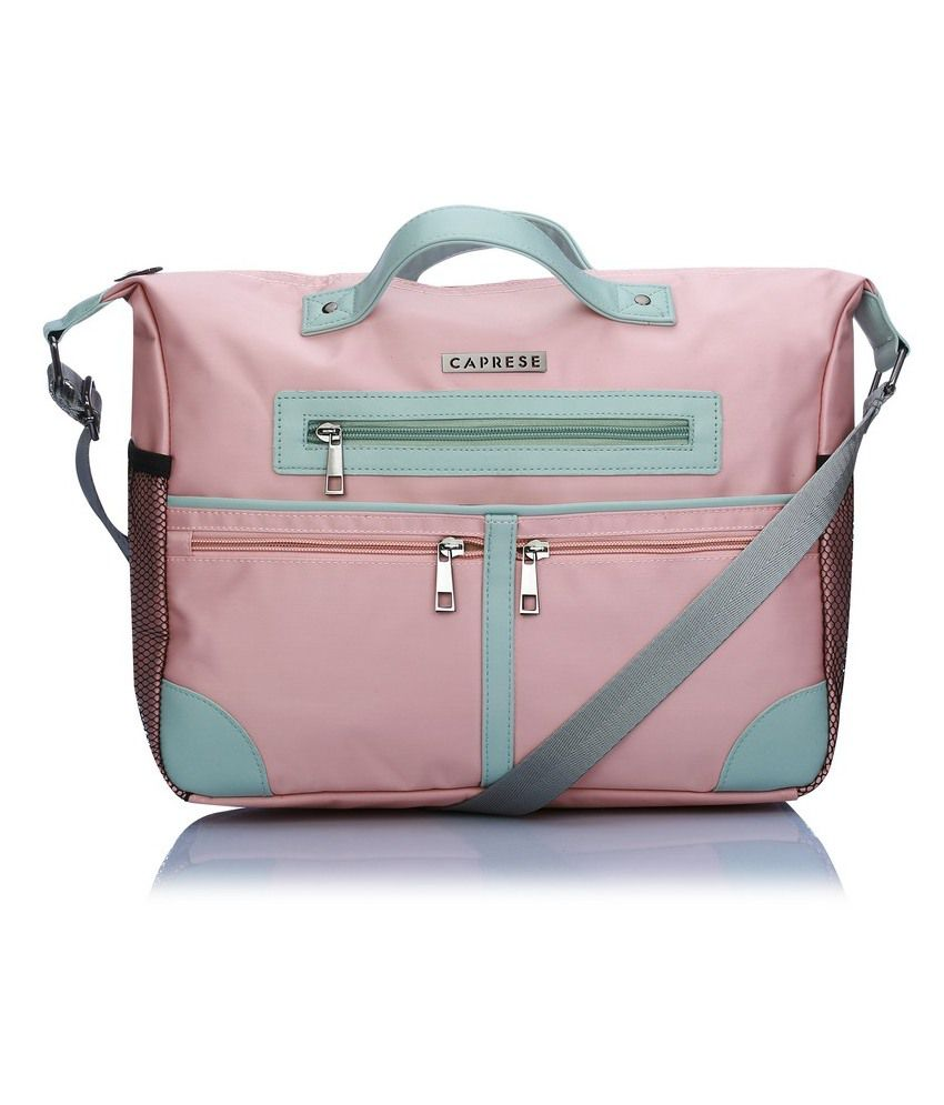 Caprese Pink Nylon Satchel Bag