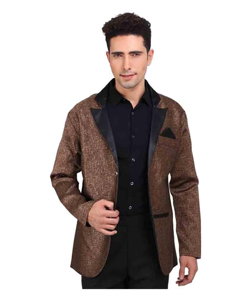 NU ABC Garments Brown Solid Wedding Blazers