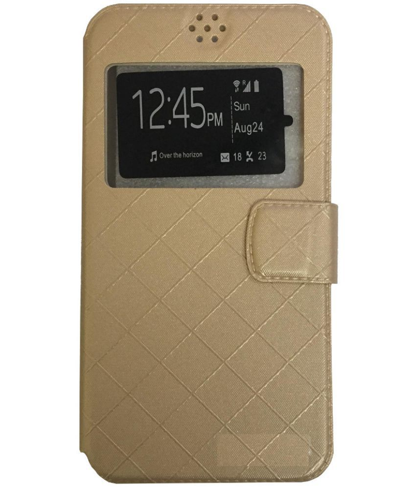 Micromax A093 Canvas Fire Flip Cover by Lomoza - Golden