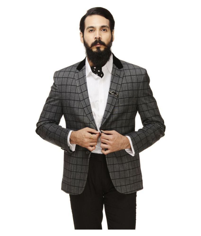 Monteil & Munero Grey Checks Casual Blazers