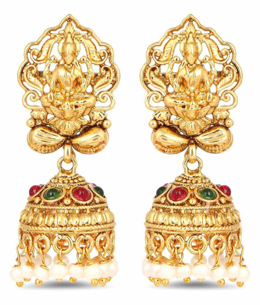 Johareez Gold Plated Mahalakshmi Shape Temple Earrings For Women