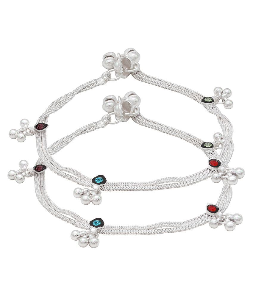 Memoir Silver Plated Double string, with Green, Red, Blue CZ enriched with meena work, ghungroo pajeb payal Anklets for Women