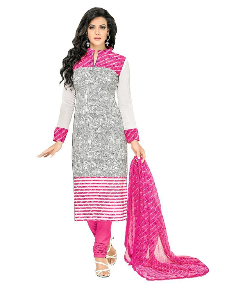 BMR Pink Cotton Straight Semi Stitched Suit
