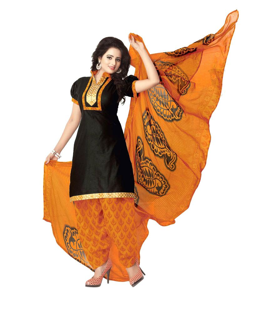 Kalish Black Cotton Dress Material