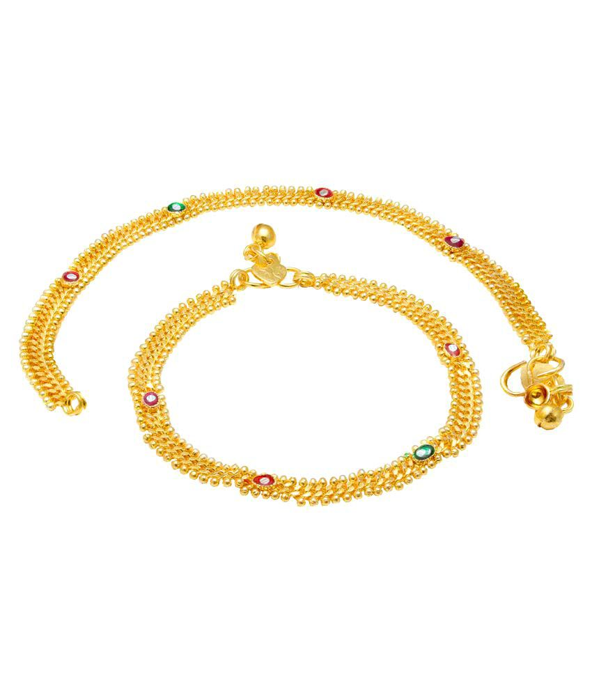 Memoir Gold plated 8mm broad Link Chain Rasrawa Meenakari Anklet for Women
