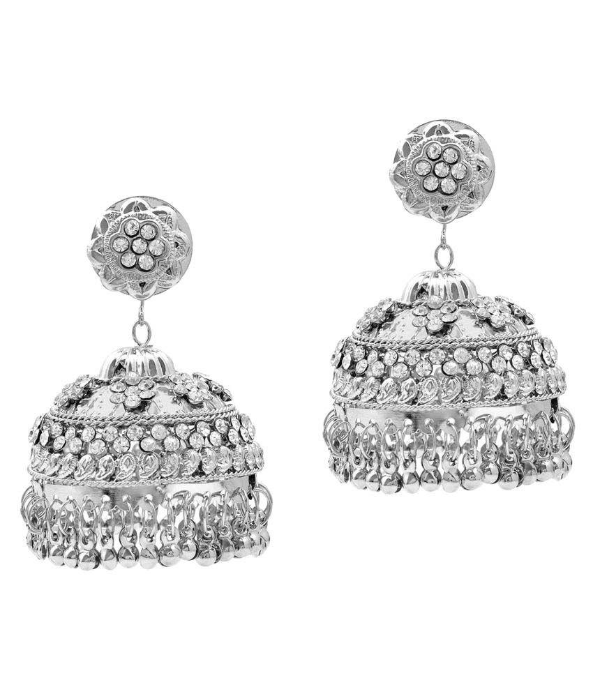 Memoir Silver plated AAA White CZ studded Big and Bold Jhumki Earrings