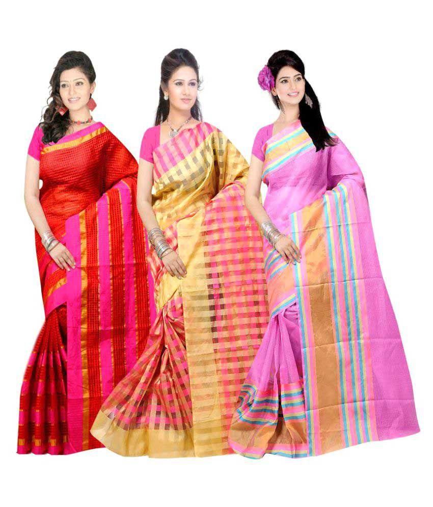 SVB Sarees Multicoloured Cotton Saree Combos