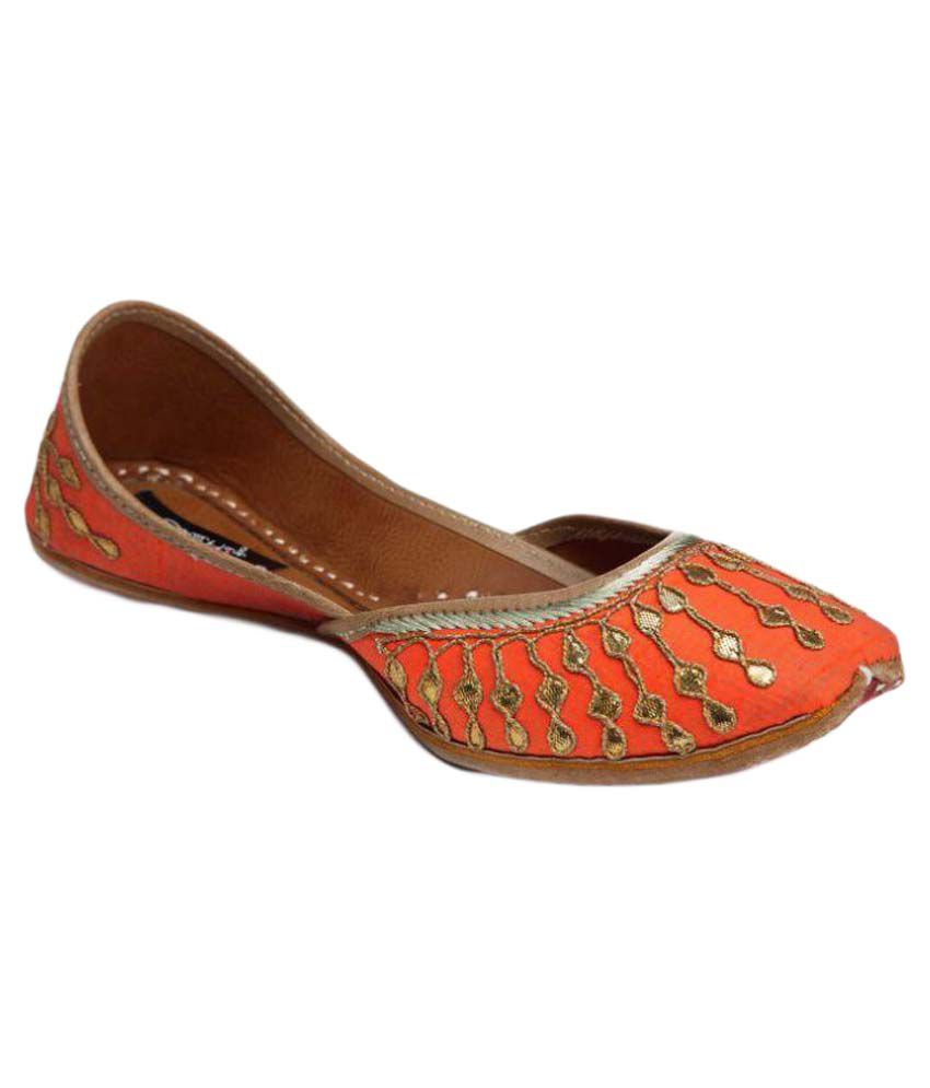 Coral Haze Orange Flat Ethnic Footwear