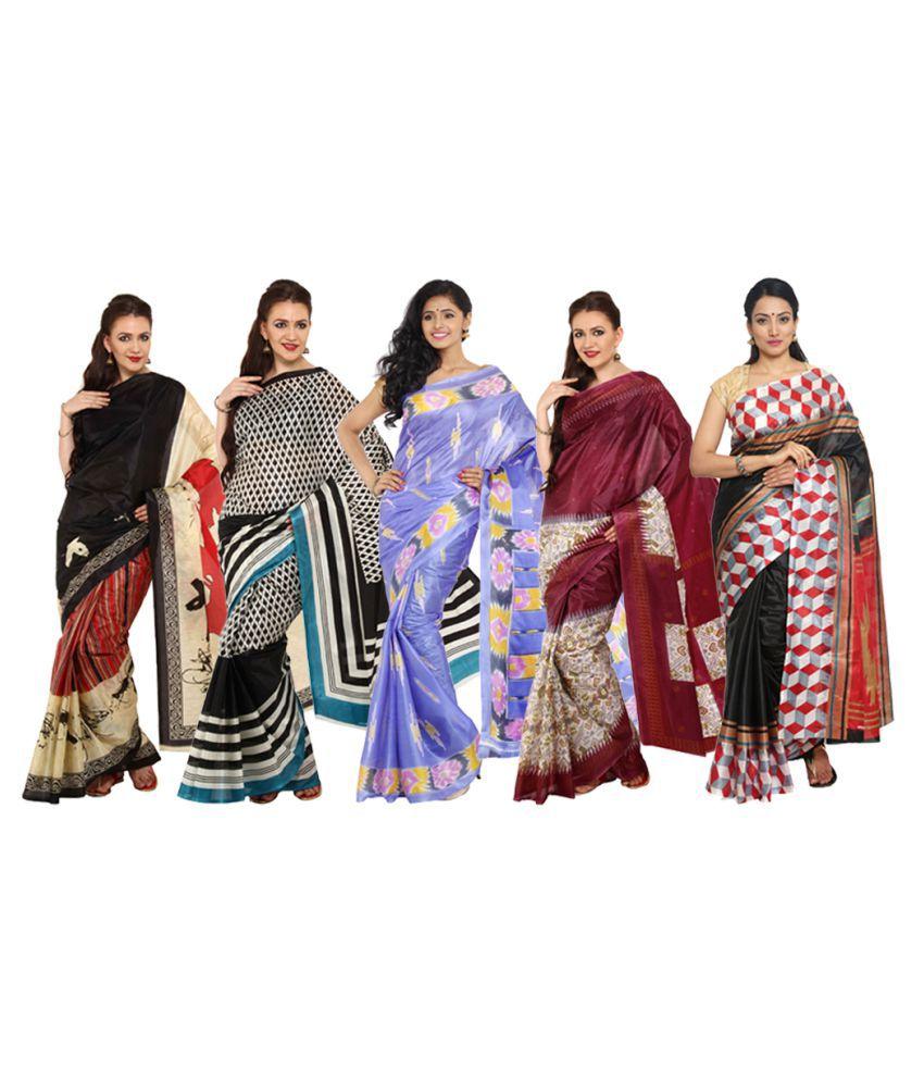 Rangkari Multicoloured Art Silk Saree Combos