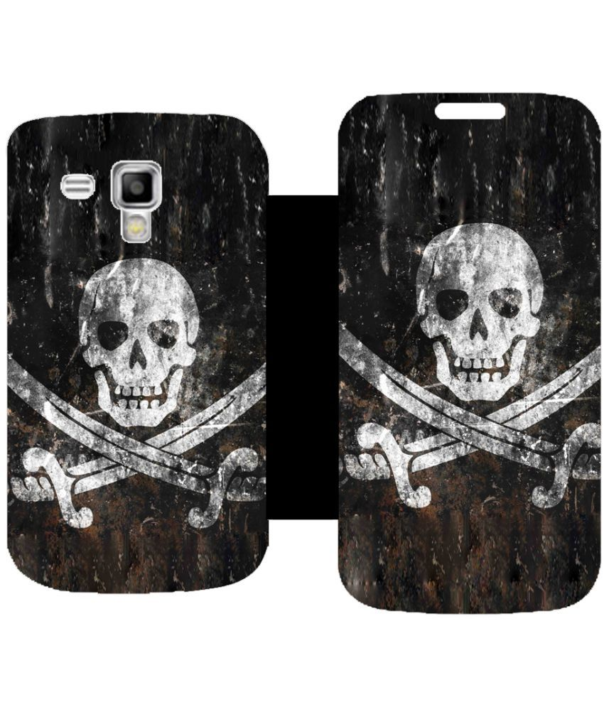 Samsung Galaxy S Duos 2 Flip Cover by Skintice - Black