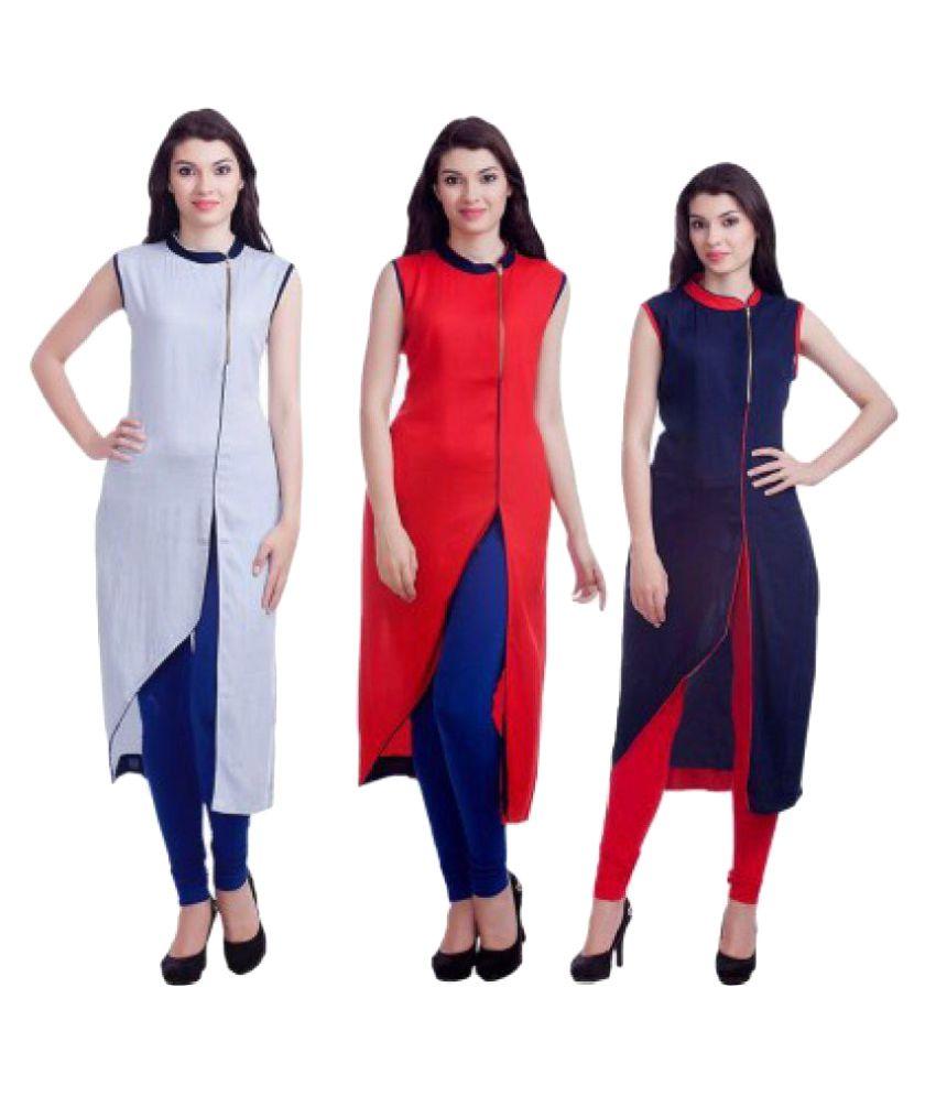 Vala Fashion World Multicoloured Cotton Straight Kurti