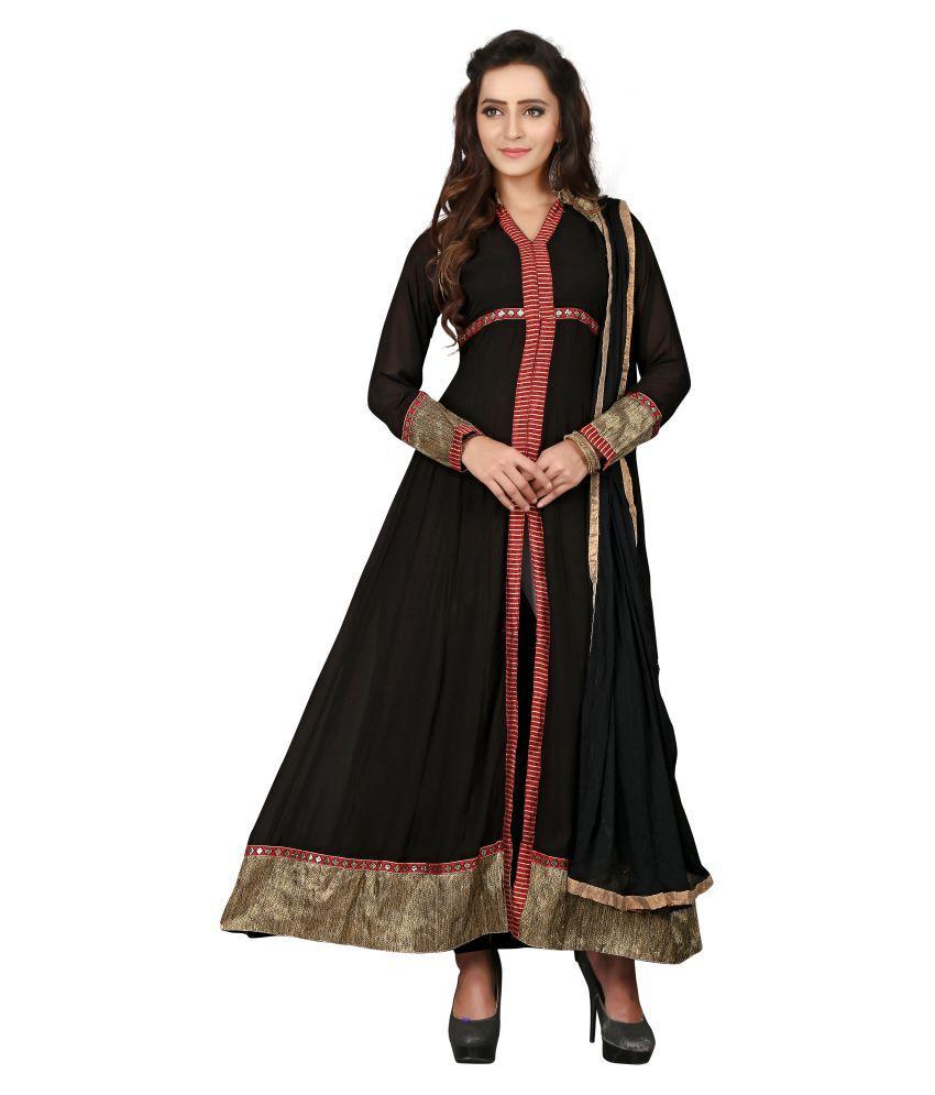 BanoRani Black Georgette Dress Material