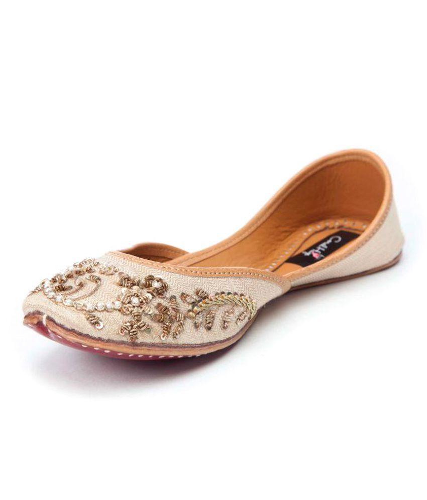 Coral Haze Beige Flat Ethnic Footwear