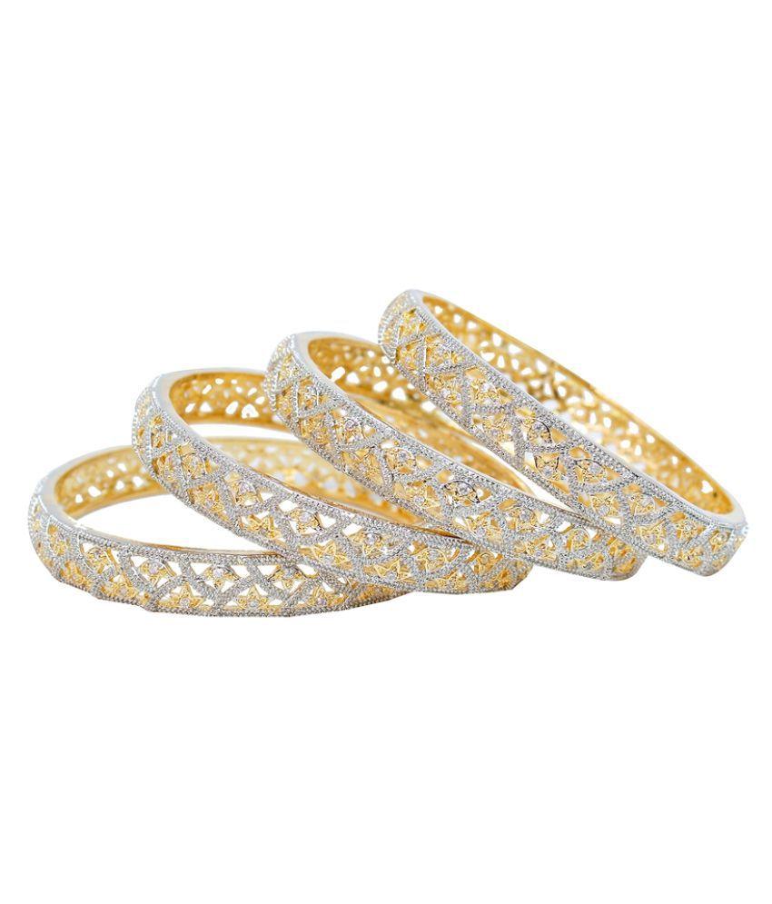 Lucky Jewellery American Diamond Bangle - Set Of 4