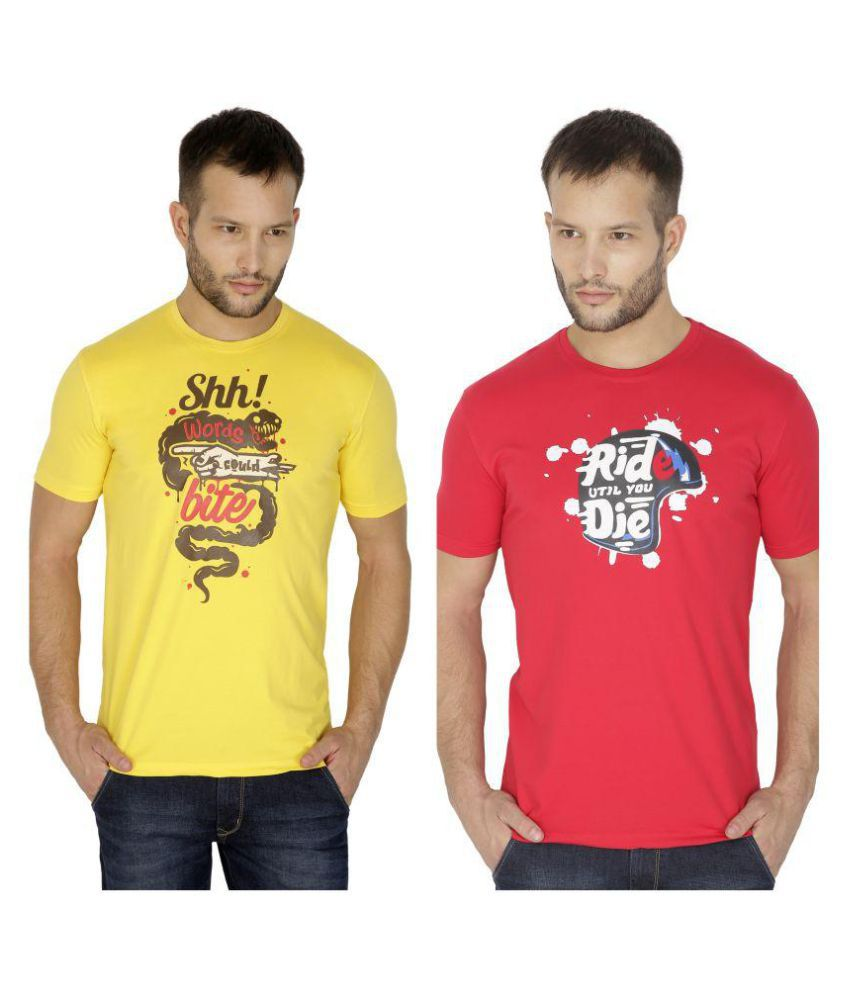 Tarkshyam Trendz Multi Round T-Shirt Pack of 2