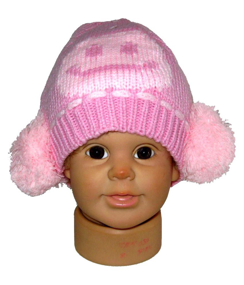 Goodluck Pink Warm Wollen Cap For Kids