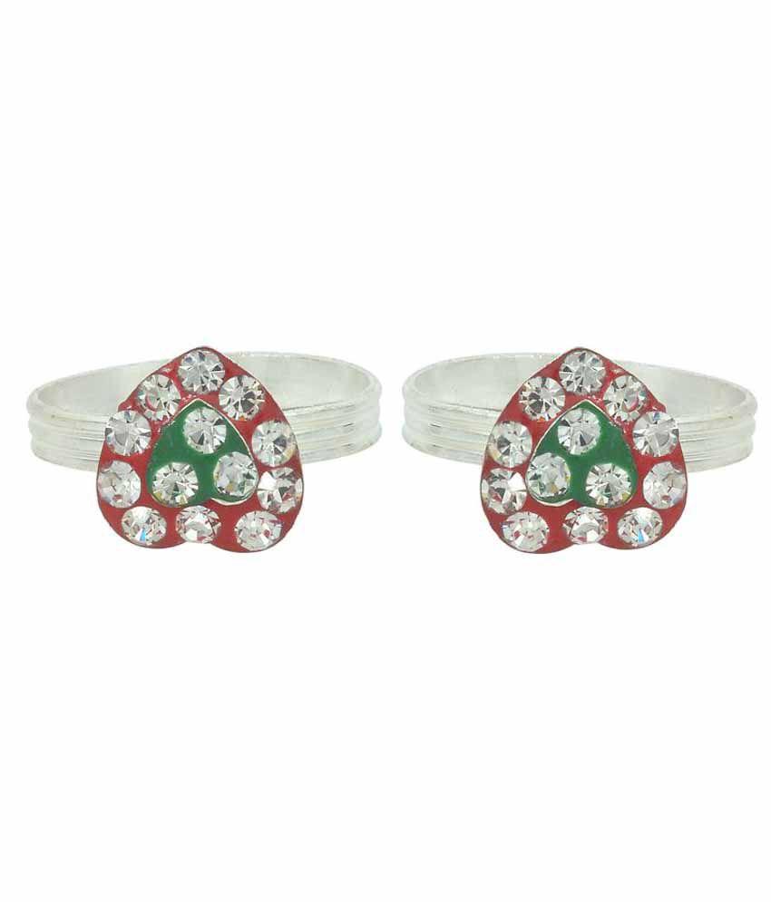 Memoir CZ Red and Green Meenakari Heartshape Silver plated Adjustable toering for Women