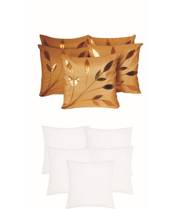 Xarans Leaves Patch Beige Cushion Cover With Filler Set of 10