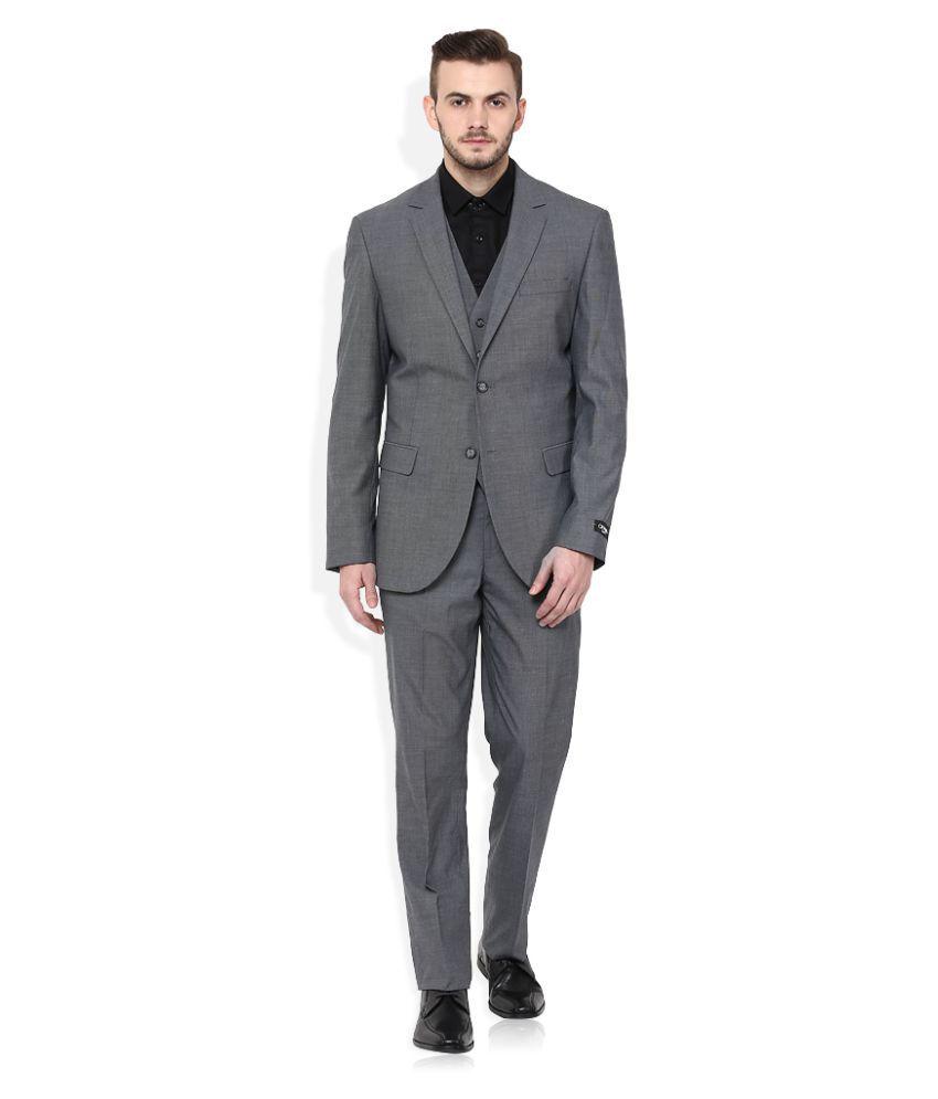 GIOVANI Grey Plain Formal 3 Piece Suits