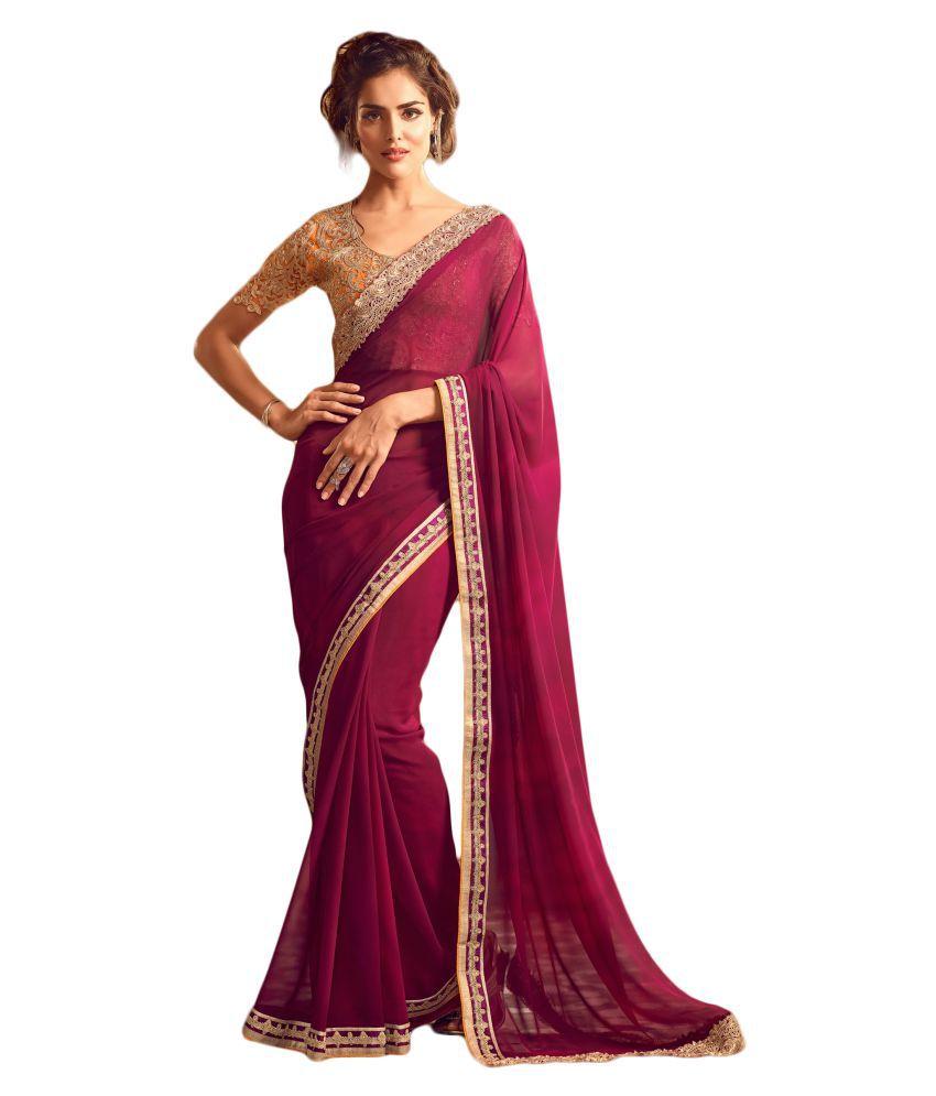 M.S.Retail Pink Georgette Saree