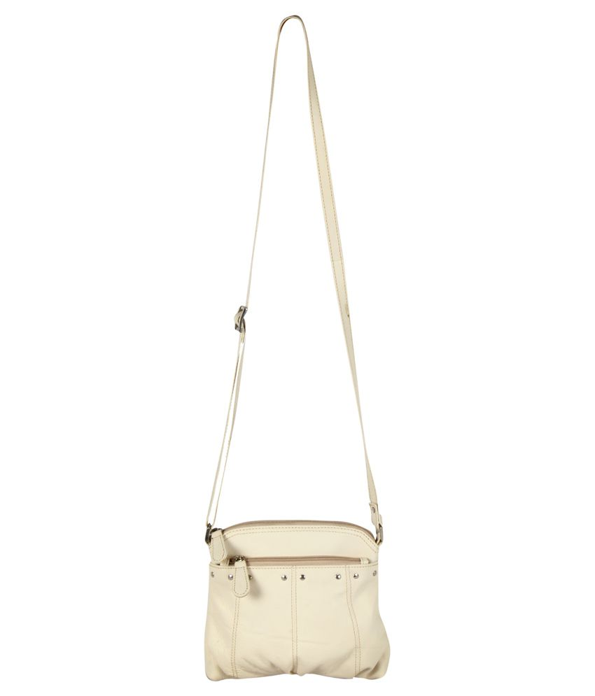 Xqzite Beige Pure Leather Sling Bag