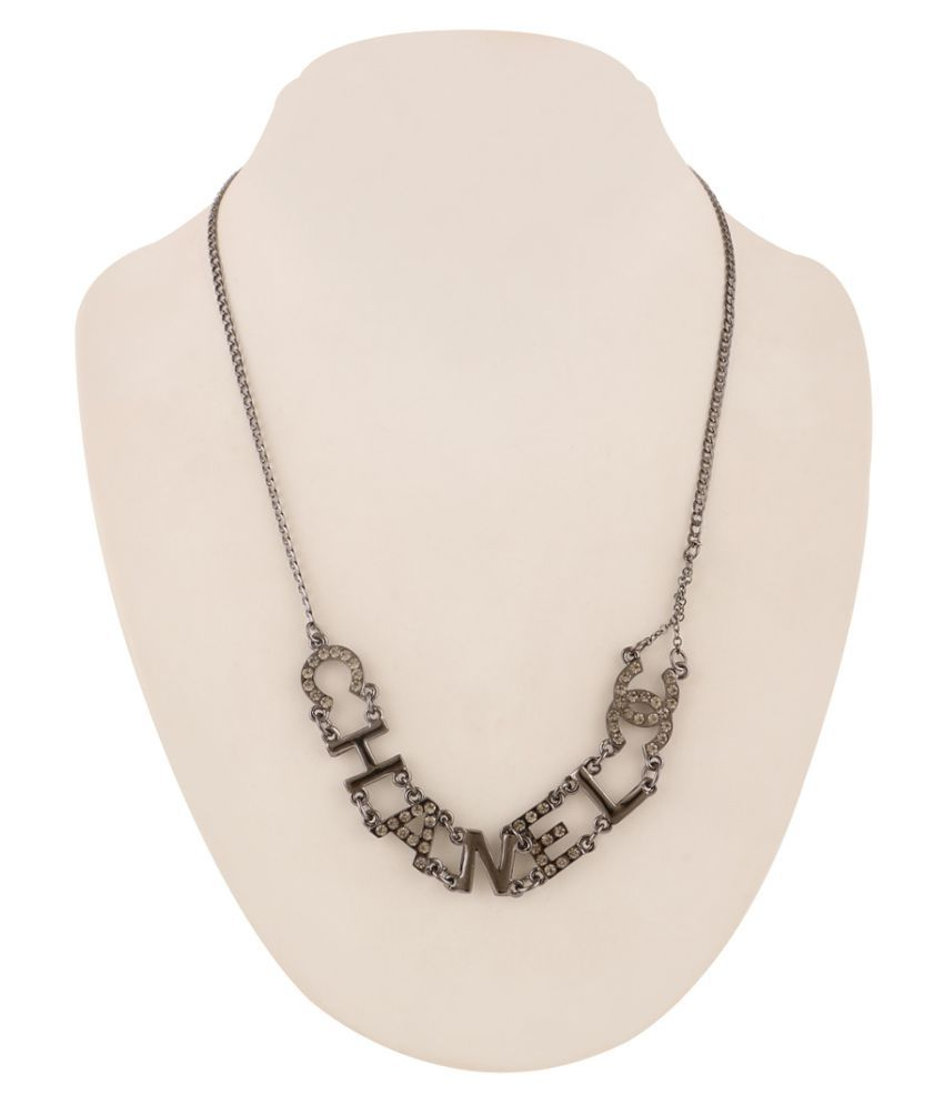 Jazz Jewellery Black Metal Plated American Diamond Stone Studded Write Up Necklace For Women and Girls
