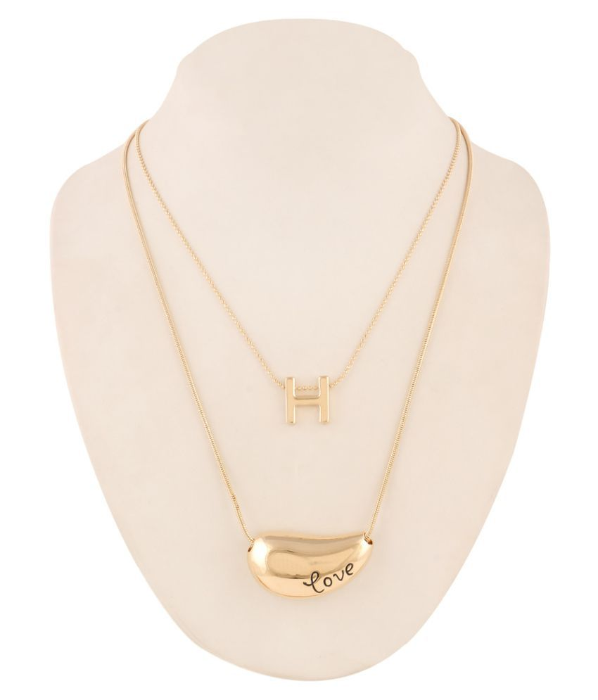 Jazz Jewellery Gold Plated Multi Strand 'H' and Kaju Shape Love Pendent Long Chain Necklace For Women and Girls