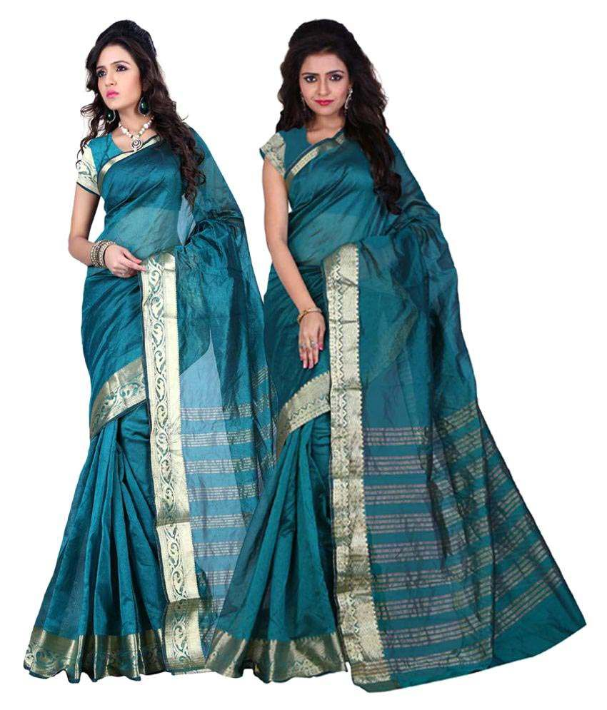 Ganga Shree Blue Art Silk Saree Combos