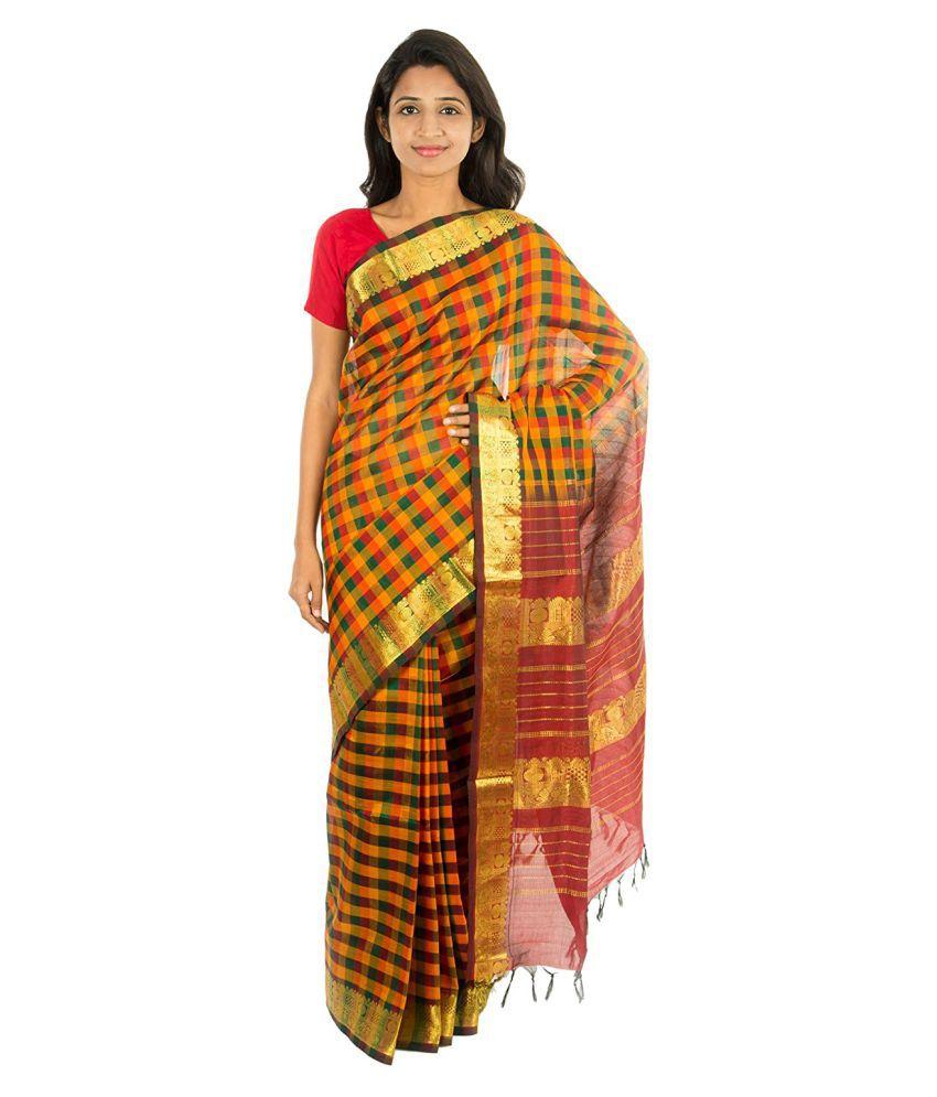 The Chennai Silks Yellow and Brown Cotton Silk Saree