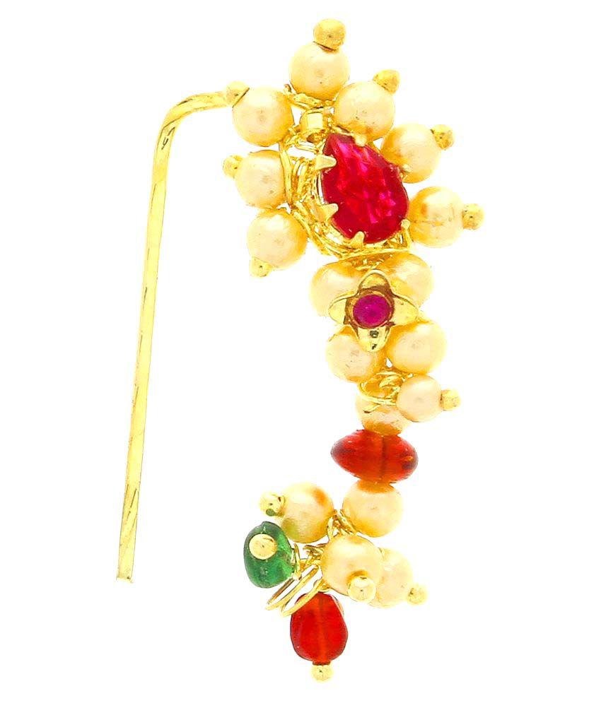Anuradha Art Multicolour Very Classy Trendy Traditional Maharashtrian Nath Nose Ring for Women