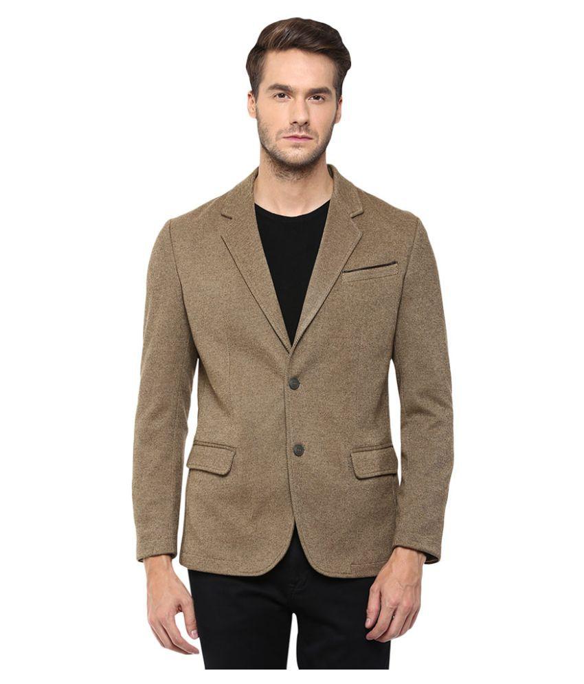 Mufti Khaki Solid Formal Blazers