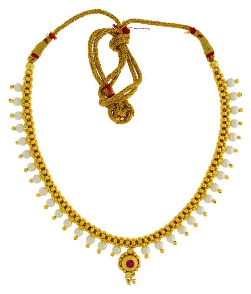 Anuradha Art Golden Colour Very Stylish Classy Necklace Thushi