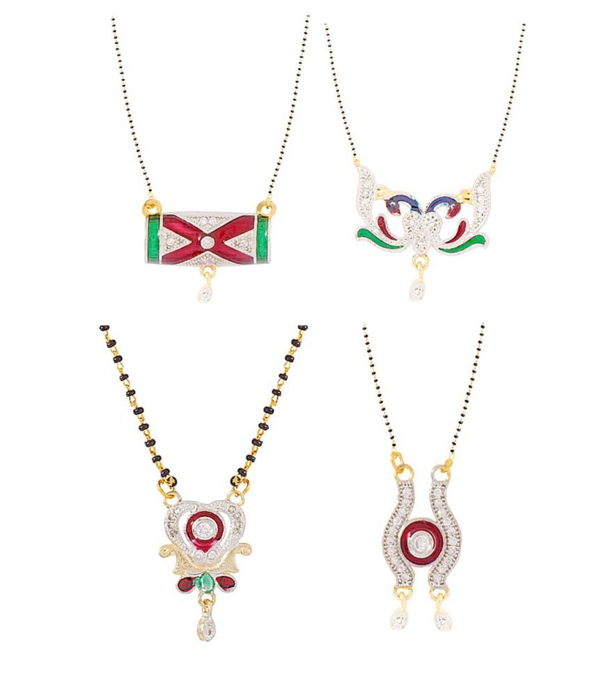 Aditri Multicolor Brass Mangalsutra - Set of 4