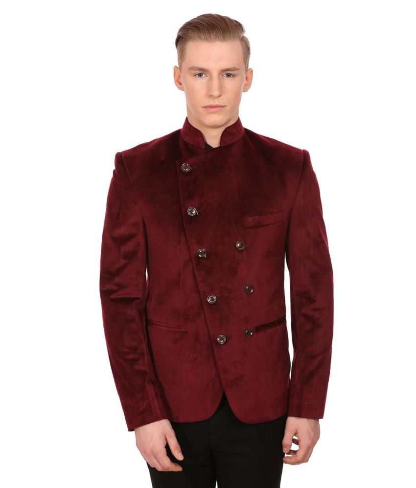 Wintage Red Solid Party Blazers No
