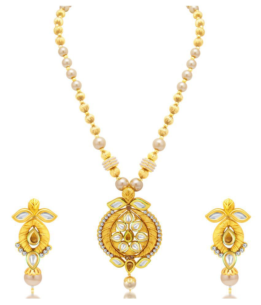 Sukkhi Golden Alloy Necklaces Set