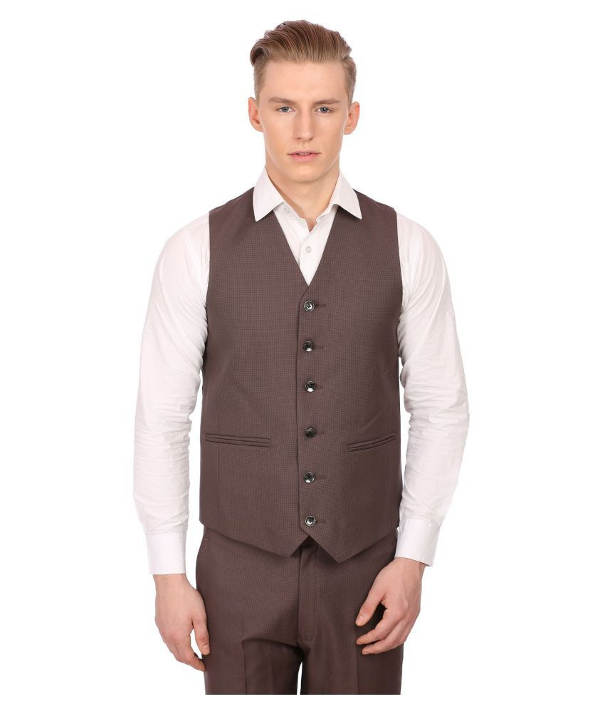 Wintage Brown Checks Party Waistcoats