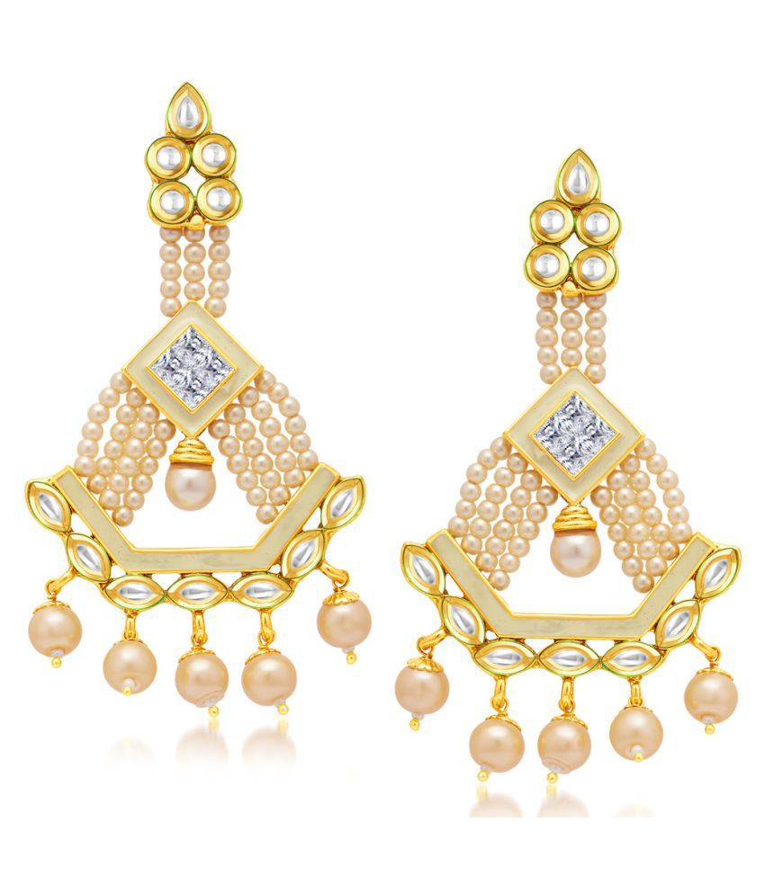 Sukkhi Designer Gold Plated Kundan Hanging Earrings