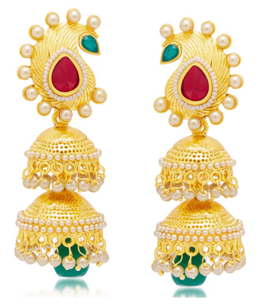 Sukkhi Gleaming Golden Alloy Gold Plated Earring For Women